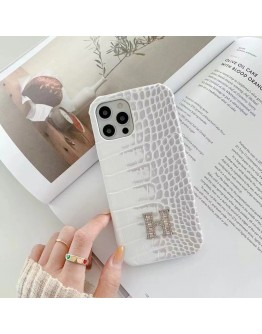 Hermes Himalayan White iPhone Case Brand Crocodile Pattern Cover